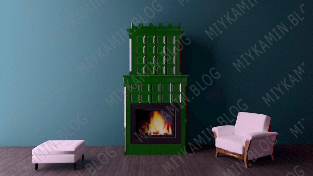 Изразцовый камин зеленого цвета Георг