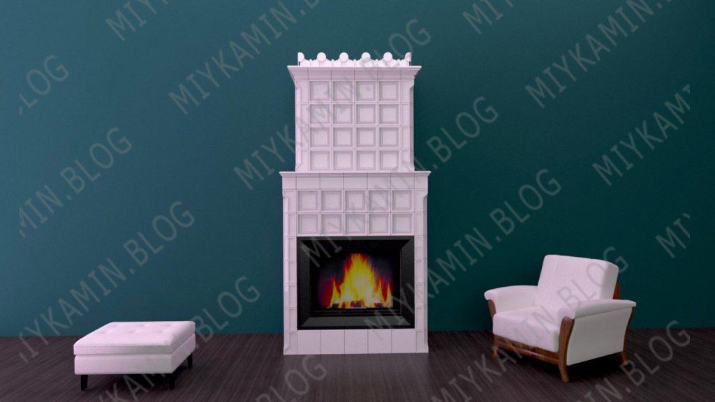 Изразцовый камин белого цвета Георг